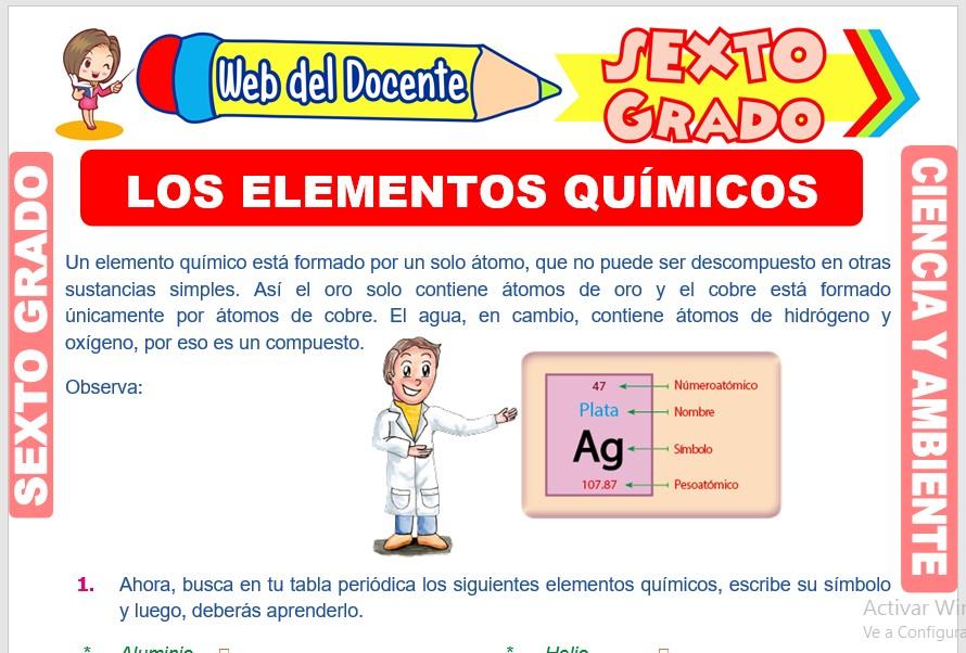 Ficha de Los Elementos Químicos para Sexto Grado de Primaria