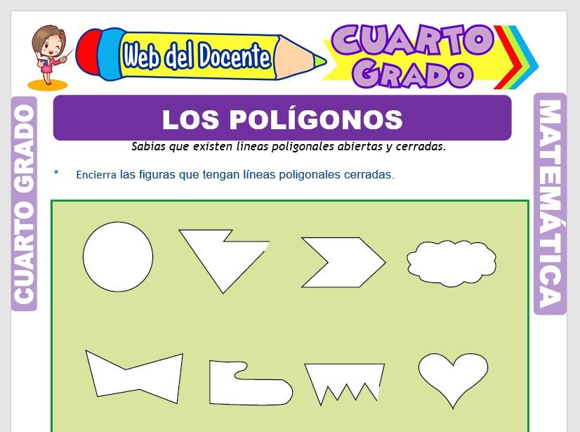Ficha de Los Elementos de un Polígono para Cuarto Grado de Primaria