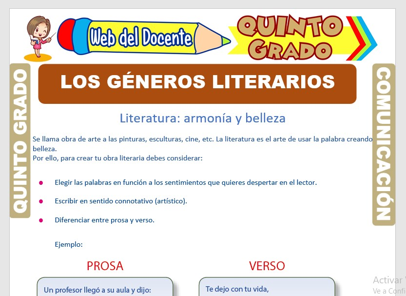 Ficha de Los Géneros Literarios para Quinto Grado de Primaria