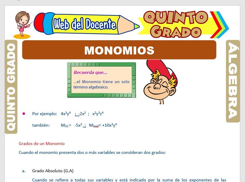 Ficha de Los Monomios para Quinto Grado de Primaria