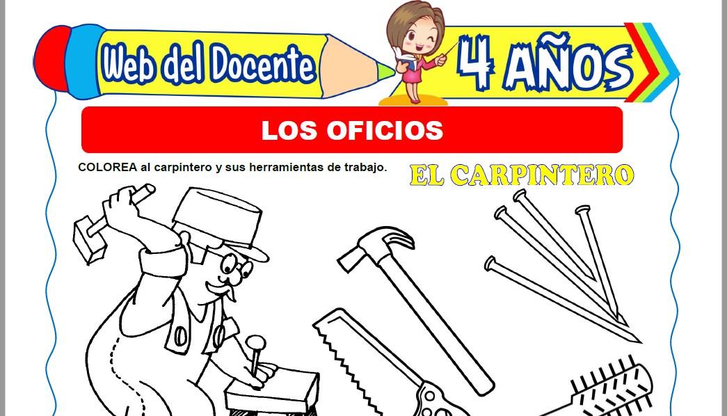 Muestra de la Ficha de Los Oficios para Niños de 4 Años