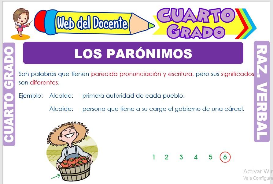 Ficha de Los Parónimos para Cuarto Grado de Primaria