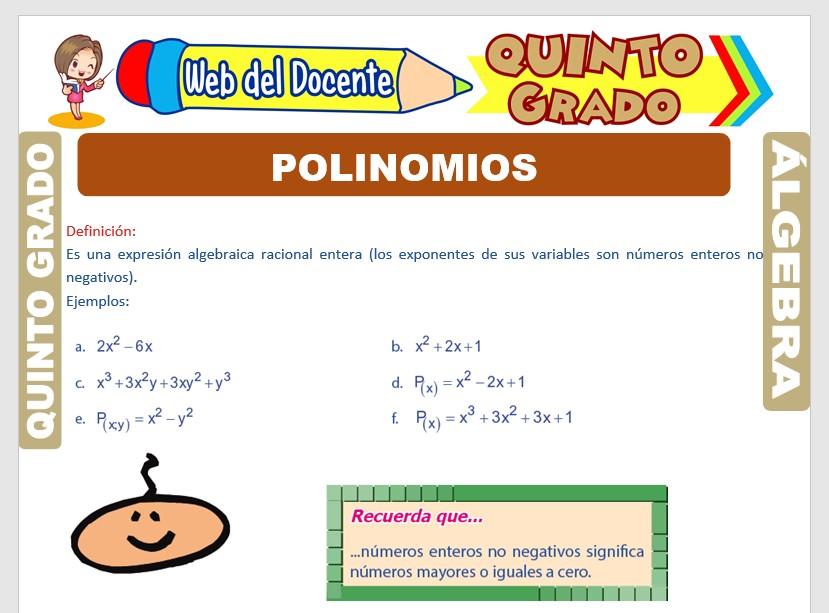 Ficha de Los Polinomios para Quinto Grado de Primaria
