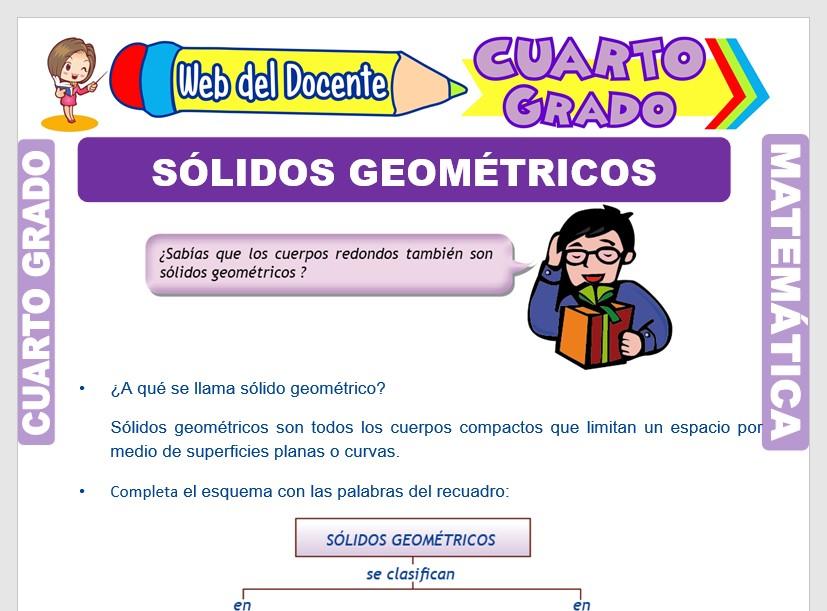 Ficha de Los Solidos Geométricos y su Clasificación para Cuarto Grado de Primaria
