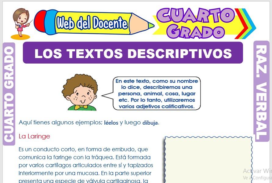 Ficha de Los Textos Descriptivos para Cuarto Grado de Primaria