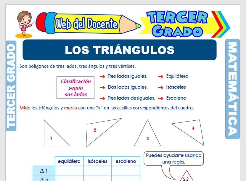 Ficha de Los Triángulos para Tercer Grado de Primaria