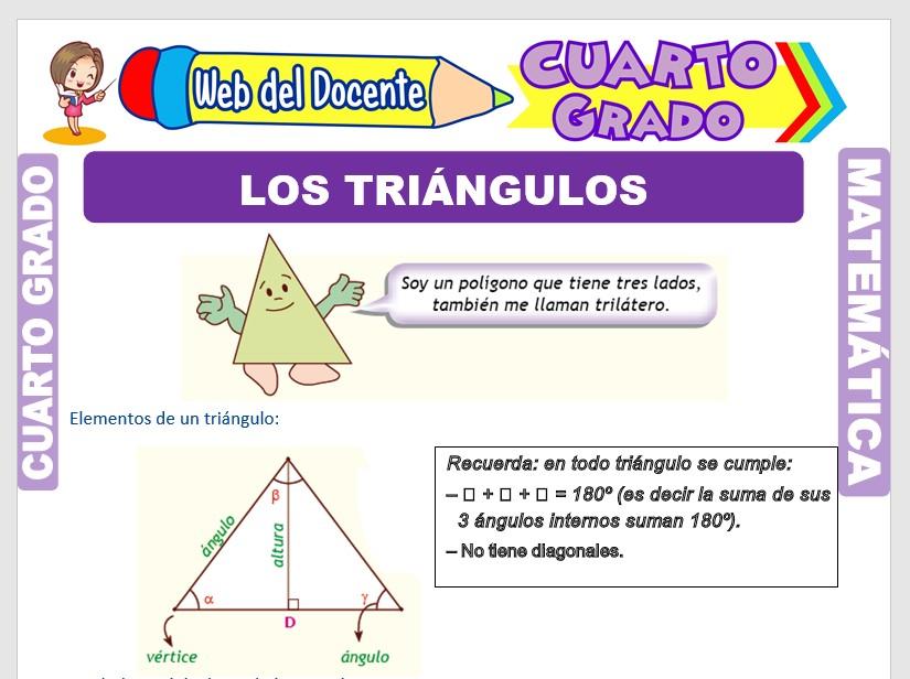 Ficha de Los Triángulos y su Clasificación para Cuarto Grado de Primaria