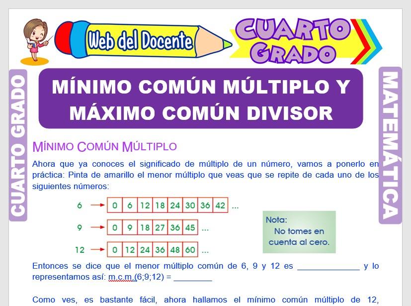 Ficha de Mínimo Común Múltiplo y Máximo Común Divisor para Cuarto Grado de Primaria