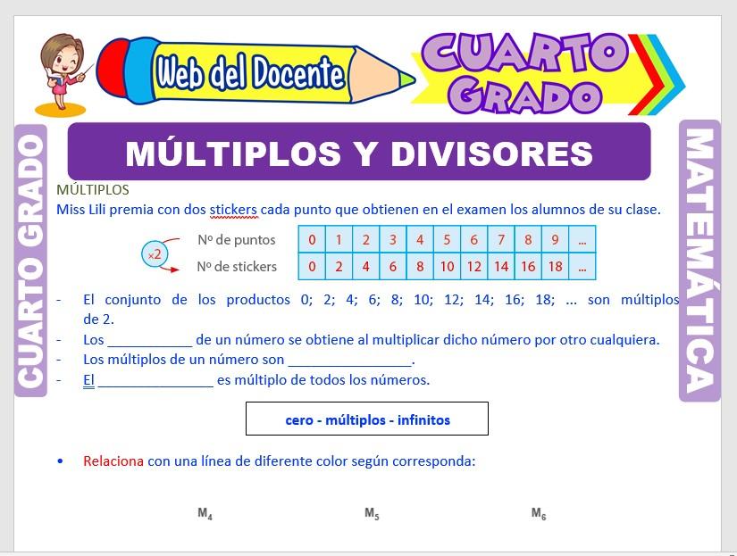 Ficha de Múltiplos y Divisores para Cuarto Grado de Primaria