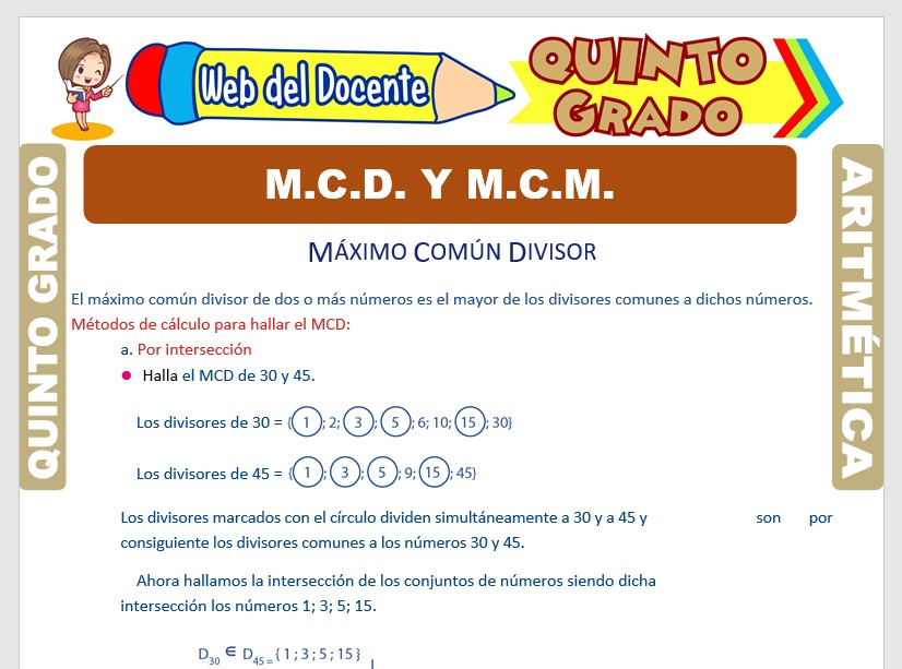 Ficha de MCD y MCM para Quinto Grado de Primaria