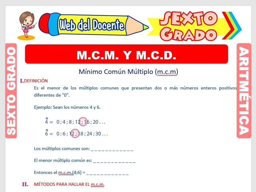 Ficha de MCM y MCD para Sexto Grado de Primaria