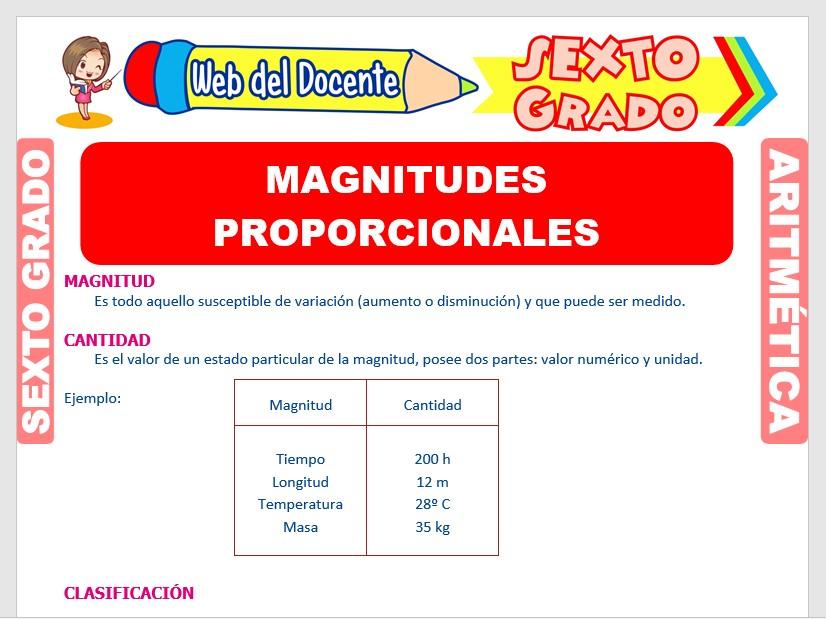 Ficha de Magnitudes Proporcionales para Sexto Grado de Primaria