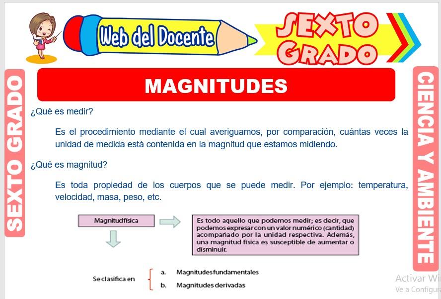 Ficha de Magnitudes para Sexto Grado de Primaria