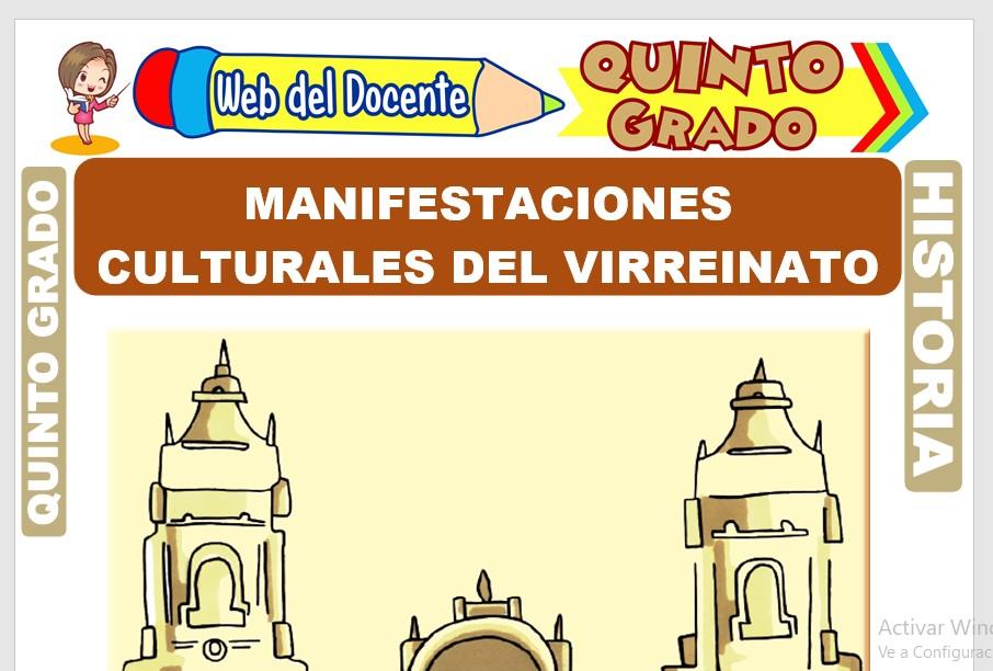 Ficha de Manifestaciones Culturales del Virreinato para Quinto Grado de Primaria