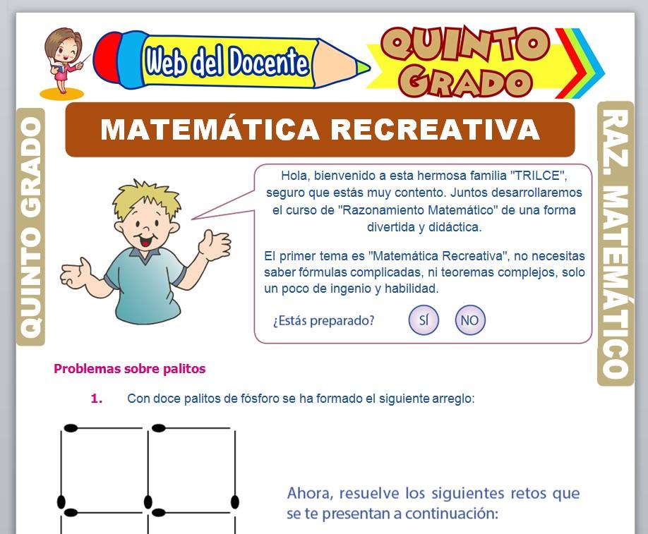 Ficha de Matemática Recreativa para Quinto Grado de Primaria
