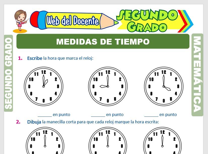 Ficha de Medidas de Tiempo para Segundo Grado de Primaria