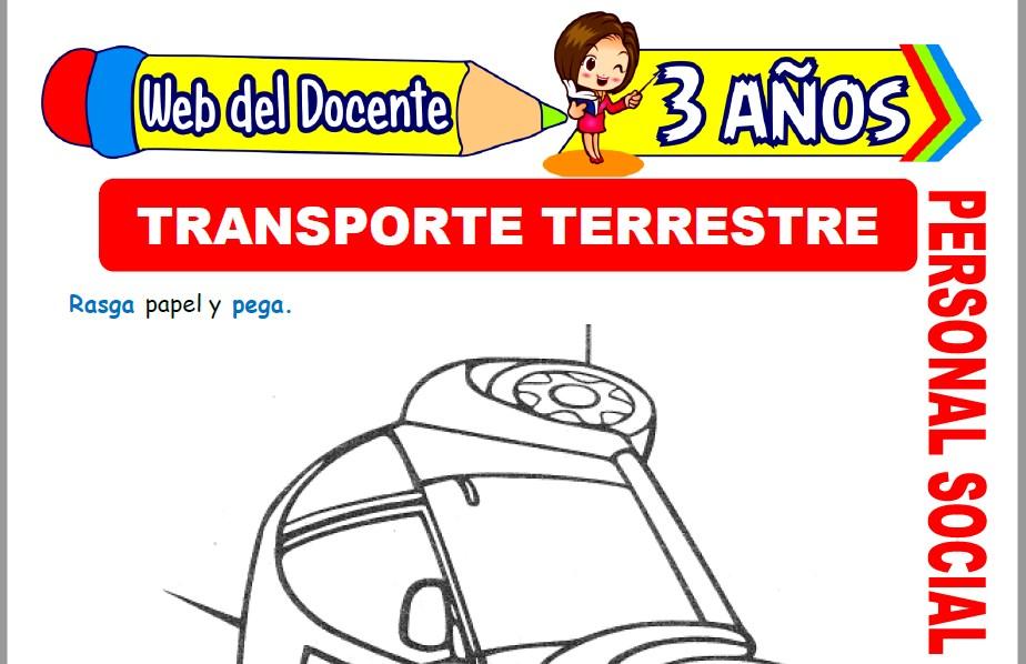 Muestra de la Ficha de Medios de Transporte Terrestre para Niños de 3 Años