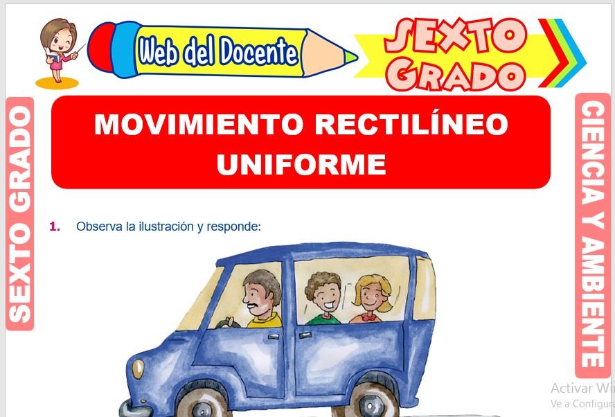 Ficha de Movimiento Rectilíneo Uniforme para Sexto Grado de Primaria