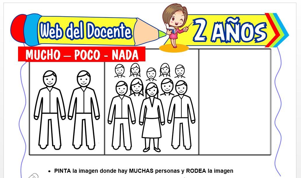 Ficha de Mucho, Poco y Nada para Niños de 2 Años