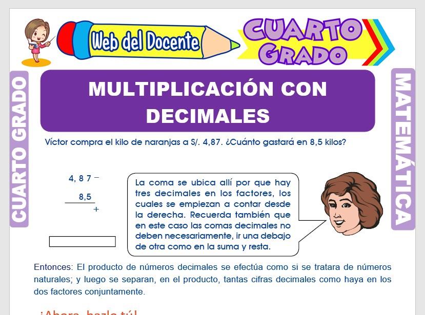 Ficha de Multiplicación con Números Decimales para Cuarto Grado de Primaria
