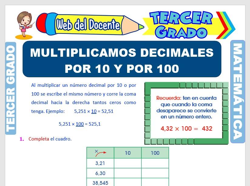 Ficha de Multiplicación de Decimales por 10 y 100 para Tercer Grado de Primaria