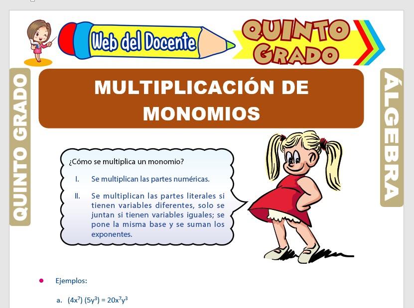 Ficha de Multiplicación de Monomios para Quinto Grado de Primaria