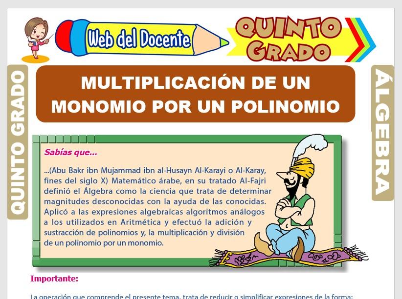 Ficha de Multiplicación de un Monomio por un Polinomio para Quinto Grado de Primaria