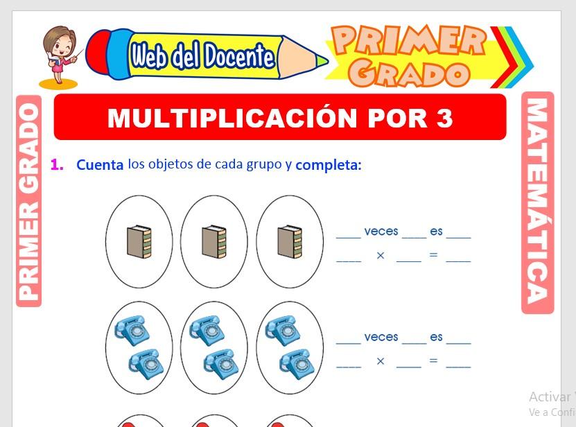 Multiplicación por 3 para Primer Grado de Primaria