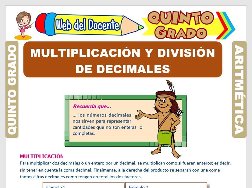 Ficha de Multiplicación y División de Decimales para Quinto Grado de Primaria