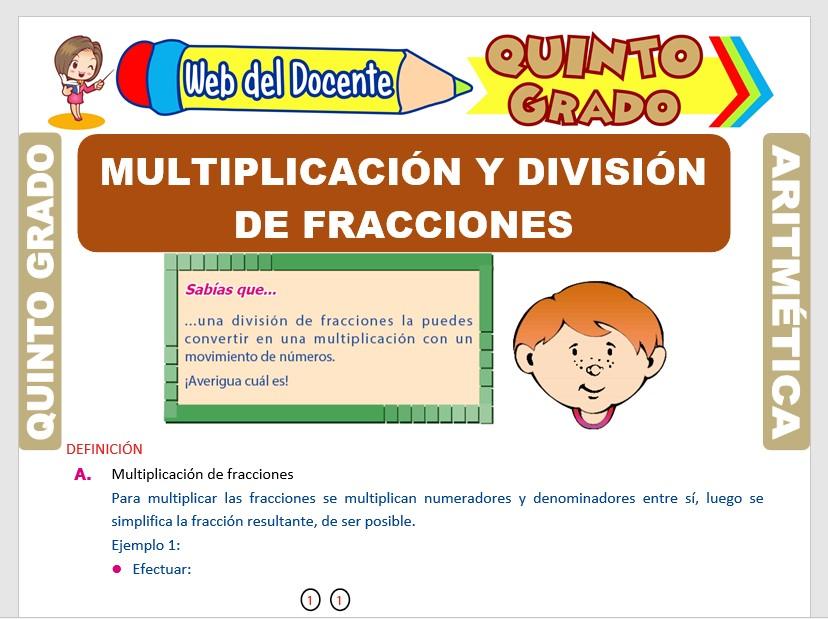 Ficha de Multiplicación y División de Fracciones para Quinto Grado de Primaria