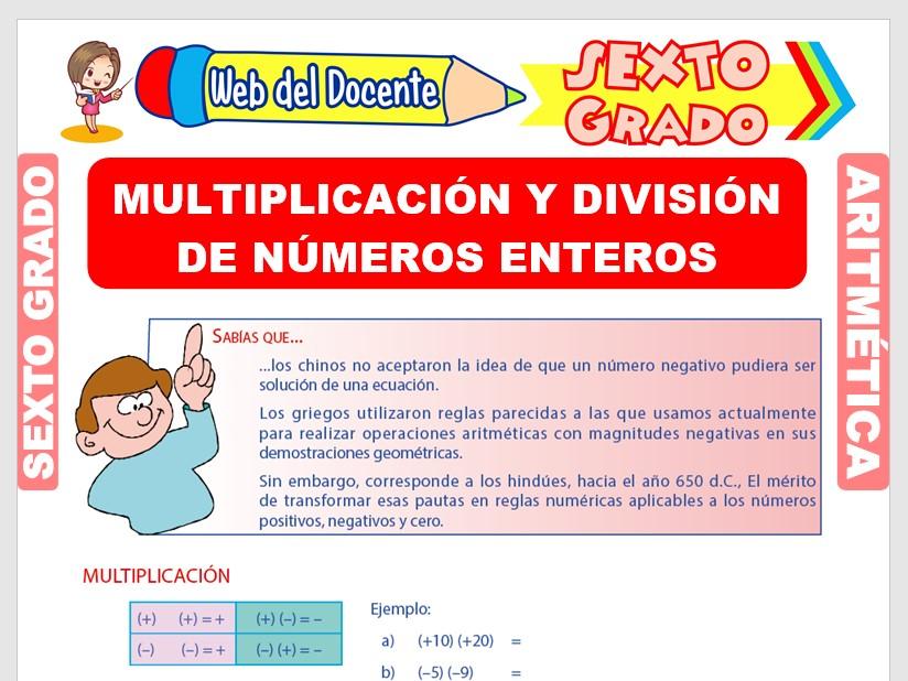 Ficha de Multiplicación y División de Números Enteros para Sexto Grado de Primaria