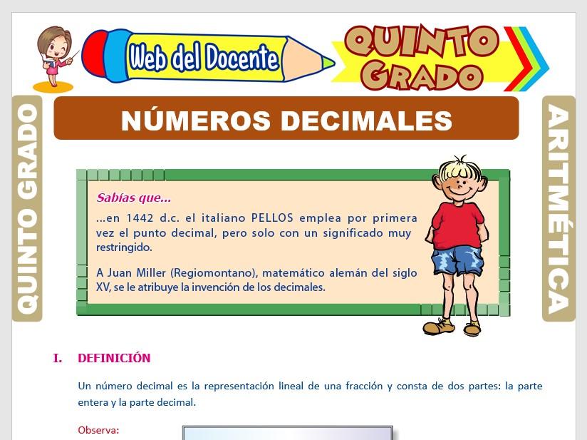 Ficha de Número Decimal para Quinto Grado de Primaria