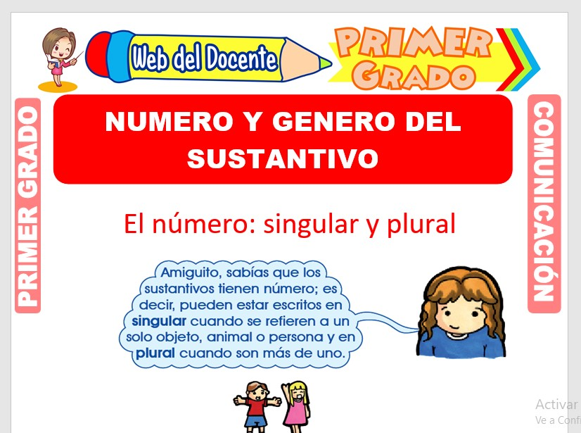 Ficha de Número y Género de los Sustantivos para Primero de Primaria