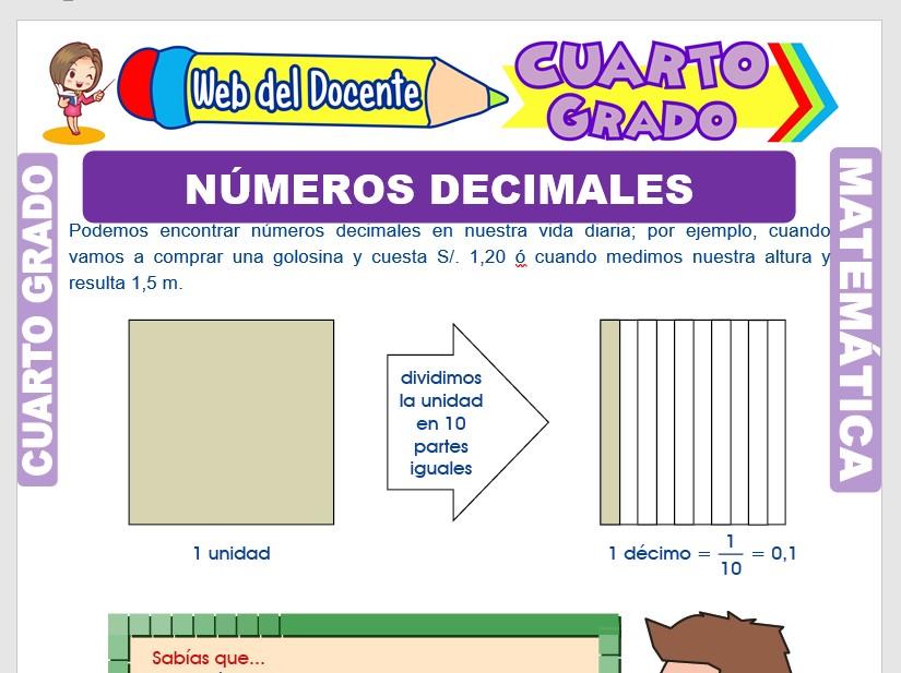 Ficha de Números Decimales para Cuarto Grado de Primaria