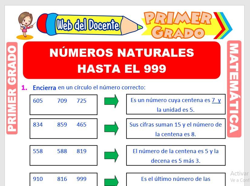 Ficha de Números Naturales hasta el 999 para Primer Grado de Primaria