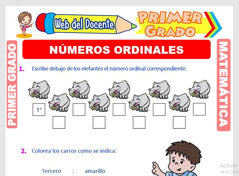 Ficha de Números Ordinales para Primer Grado de Primaria