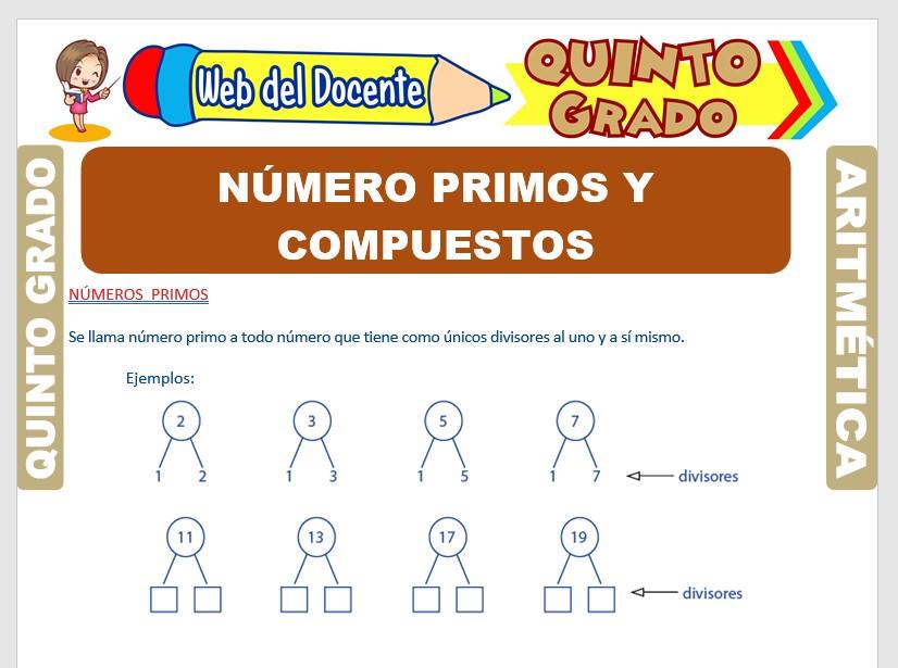 Ficha de Números Primos y Compuestos para Quinto Grado de Primaria