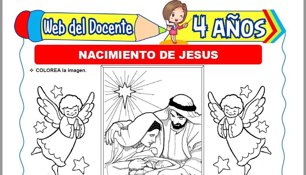 Muestra de la Ficha de Nacimiento de Jesús para Niños de 4 Años