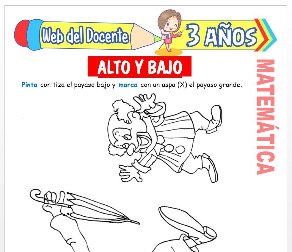 Ficha de Noción de Alto y Bajo para Niños de 3 AÑOS