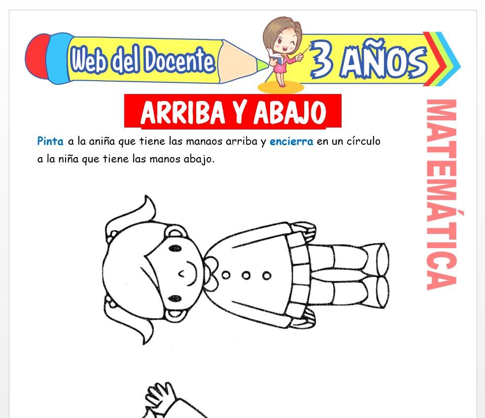 Ficha de Noción de Arriba y Abajo para Niños de 3 AÑOS