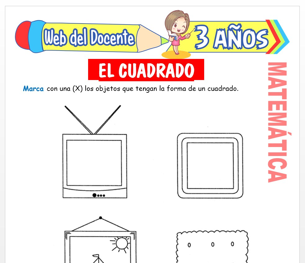 Ficha de Noción de Cuadrado para Niños de 3 AÑOS