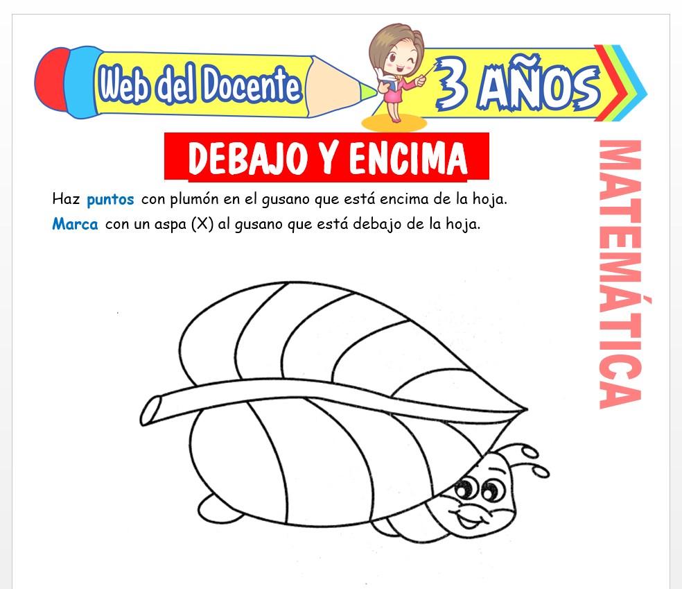 Ficha de Noción de Debajo y Encima para Niños de 3 AÑOS