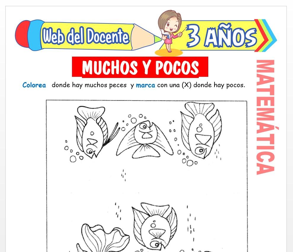 Ficha de Noción de Muchos y Pocos para Niños de 3 AÑOS