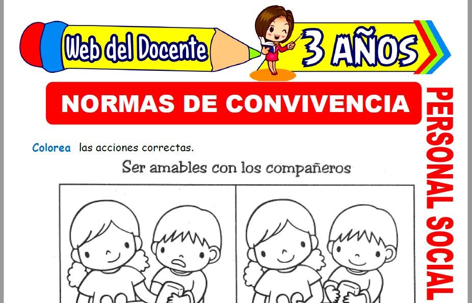 Muestra de la Ficha de Normas de Convivencia para Niños de 3 Años