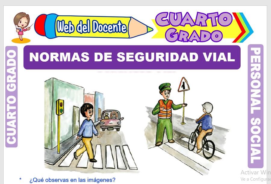 Ficha de Normas de Seguridad Vial para Cuarto Grado de Primaria