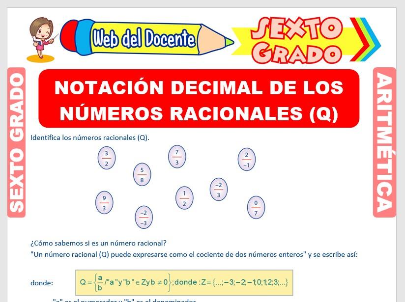 Ficha de Notación Decimal de los Números Racionales para Sexto Grado de Primaria