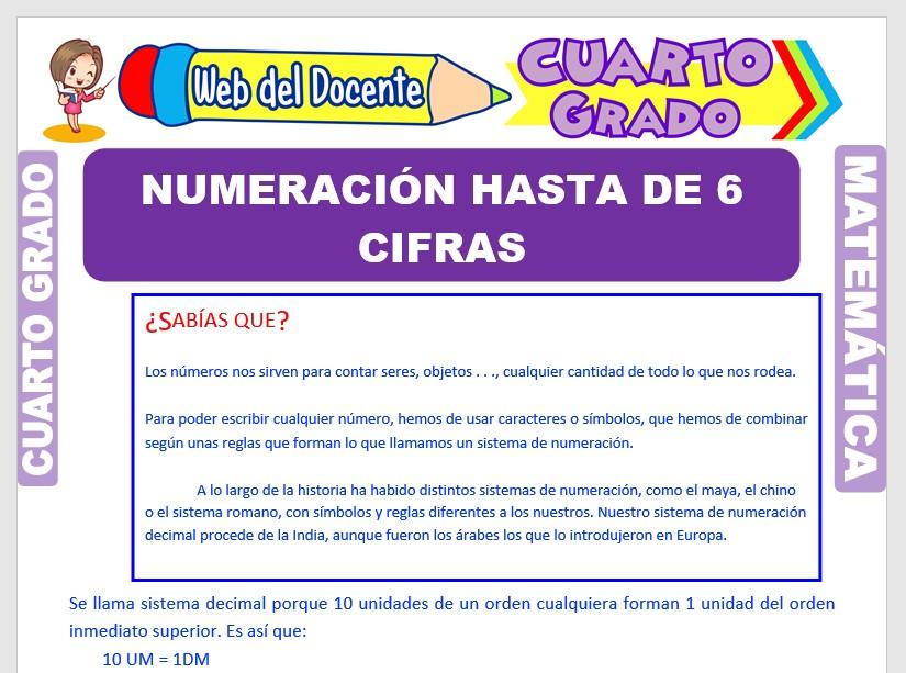 Ficha de Numeración hasta de 6 Cifras para Cuarto Grado de Primaria