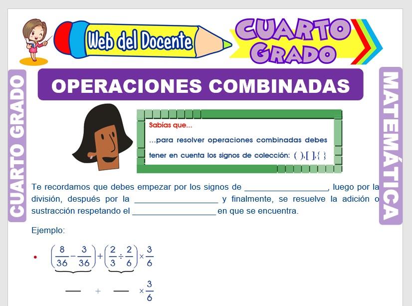 Ficha de Operaciones Combinadas con Números Decimales para Cuarto Grado de Primaria