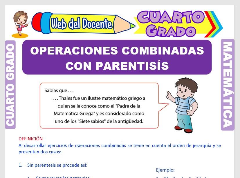 Ficha de Operaciones Combinadas con Parentesis para Cuarto Grado de Primaria