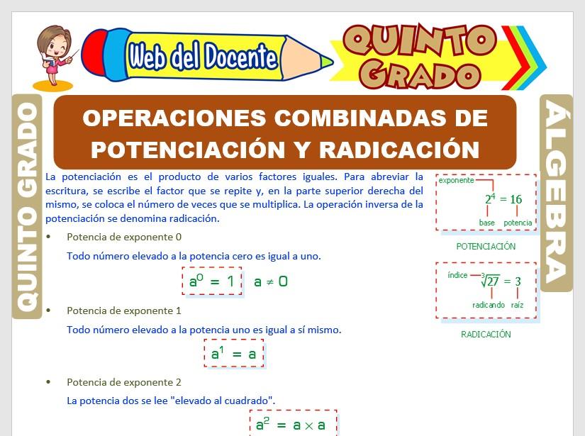 Ficha de Operaciones Combinadas de Potenciación y Radicación para Quinto Grado de Primaria